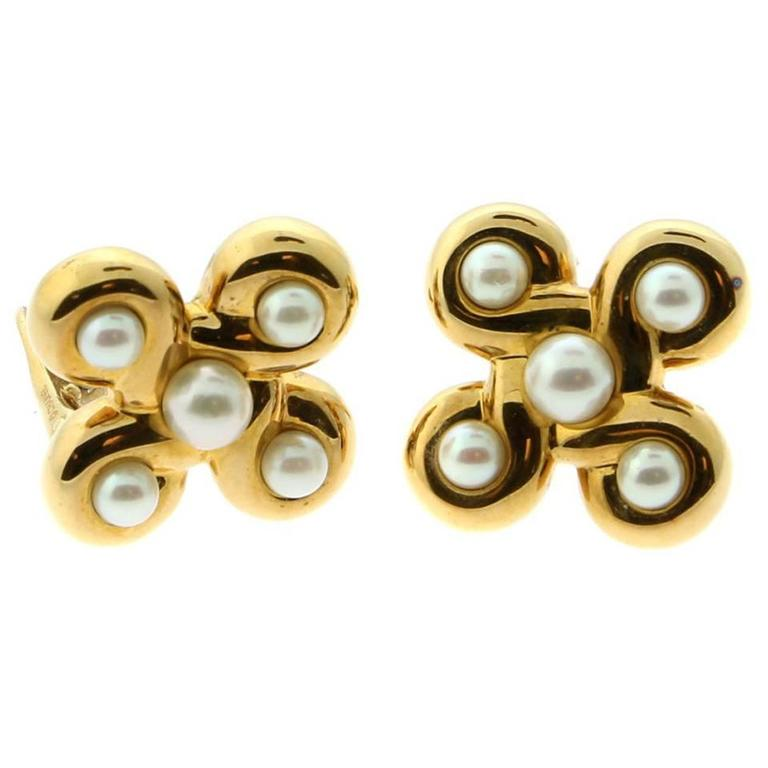 Chanel Classic Pearl Gold Earrings