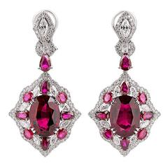 Rubellite and Diamond Earrings
