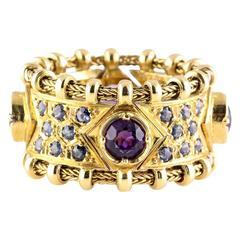 Elizabeth Gage Sapphire Amethyst Gold Flexible Band Ring