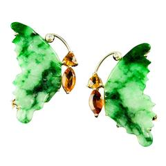 Jade Citrine Diamond Gold Butterfly Brooches