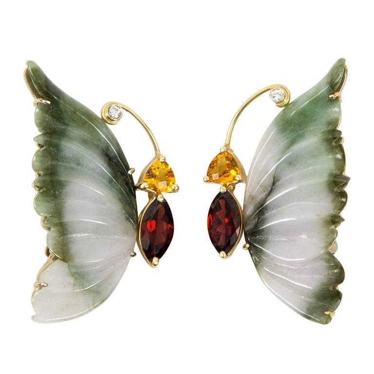 Stunning Jade Garnet Citrine Diamond Gold Butterfly Brooches
