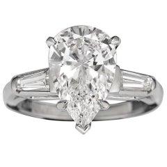3.02 Carat Pear-Cut Golconda Diamond Platinum Ring