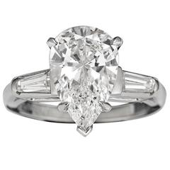 3.02 Carat Pear-Cut Golconda Diamond Platinum Ring