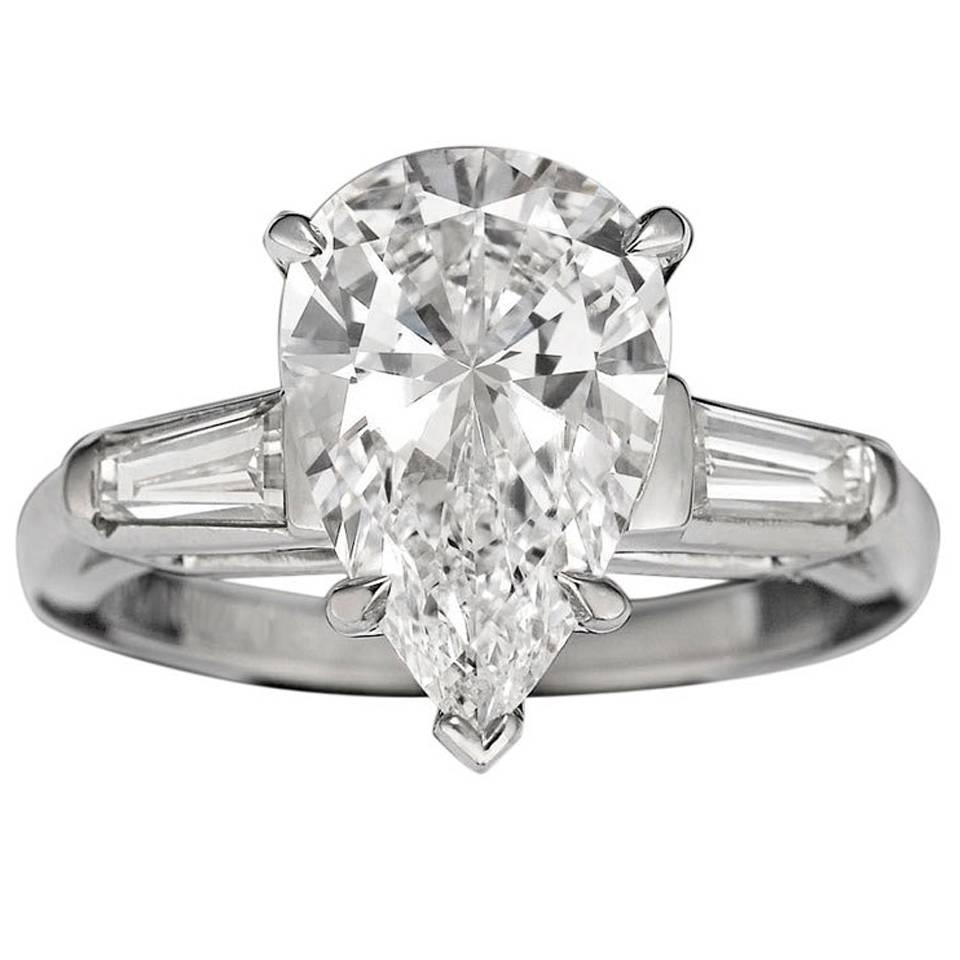 3 02 Carat Pear Cut Golconda Diamond Platinum Ring For Sale at 1stdibs