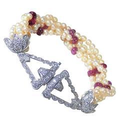 Early Art Deco Natural Pearl Burma Ruby Diamond Platinum Bracelet