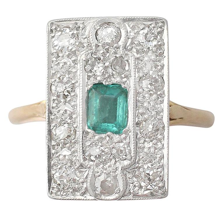 1920s Antique Emerald & Diamond Yellow Gold Cocktail Ring