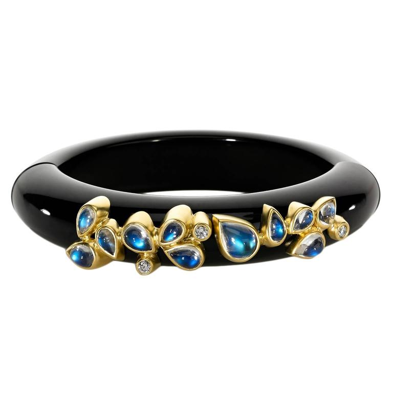 Magnetic Midnight Blue Bakelite Blue Moonstone Diamond Gold Cuff Bracelet 1