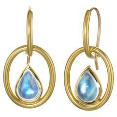 Susan Sadler Pear-Shaped Blue Moonstone Gold Interlink Hook Earrings