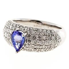 Pear Shaped Blue Tanzanite Bead Set Diamond Platinum Ring