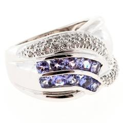 Purple Tanzanite Pave Set Diamond Platinum Band Ring