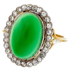 Green Onyx Diamond Yellow White Gold Ring