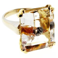 Quartz Manifestor Crystal White Yellow Gold Ring