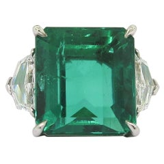 GIA Certified Natural 11.60 Carat Colombian Emerald Platinum Ring