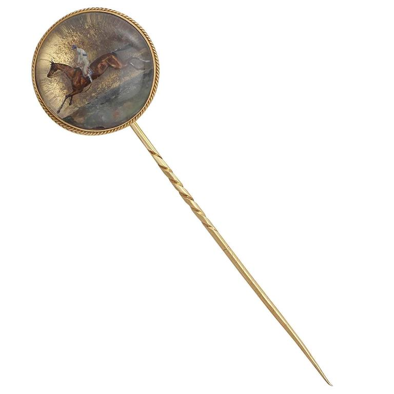 Essex Crystal and 15k Yellow Gold Stickpin Brooch - Antique Victorian
