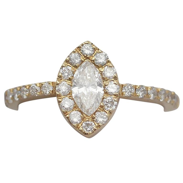 0.82Ct Diamond and 18k Yellow Gold Cluster Ring - Circa 1990