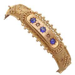 Garnet and Diamond, 9k Yellow and Rose Gold Bangle - Antique 1915