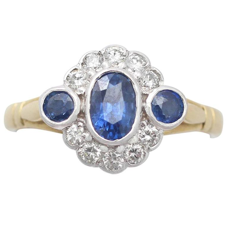 Sapphire & Diamond Yellow Gold Cocktail Ring