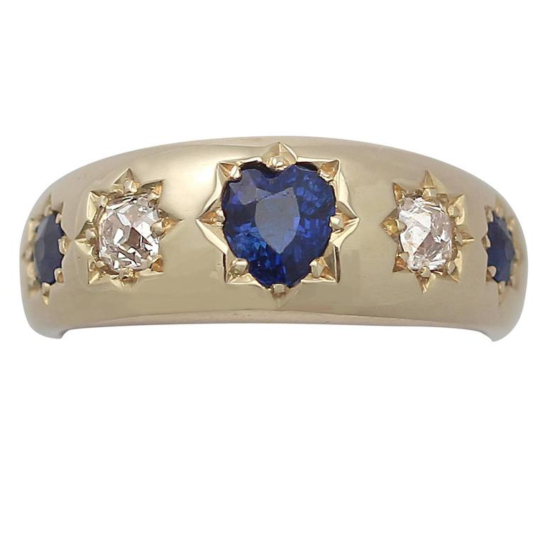Antique Sapphire & Diamond Yellow Gold Cocktail Ring