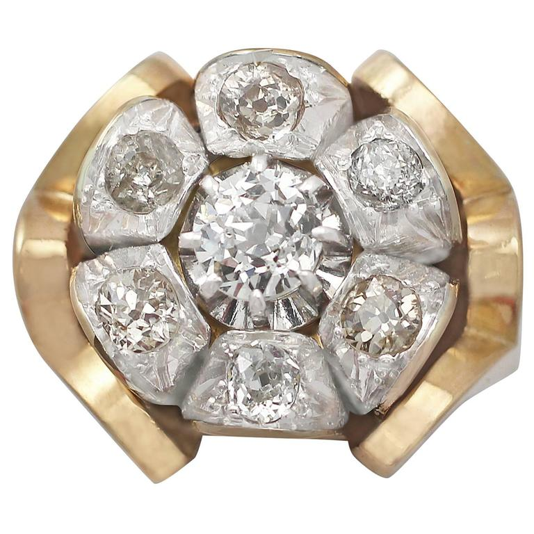 1920s Antique 1.53 Carat Diamond Cluster Yellow Gold Cocktail Ring
