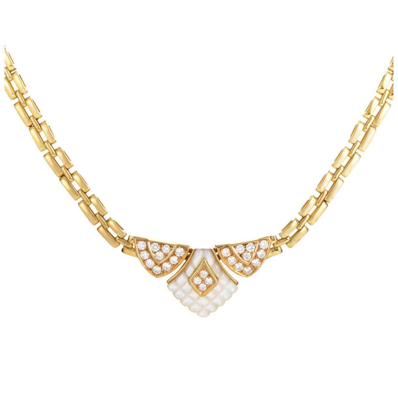 Mauboussin Mother-of-Pearl Diamond Gold Necklace at 1stdibs