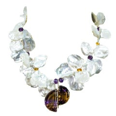 Keshi Pearl and Ametrine Gold Statement Pendant Necklace Fine Estate Jewelry