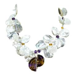 Outstanding Keshi Pearl and Ametrine Gold Statement Pendant Necklace