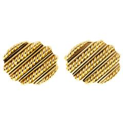 Tiffany & Co. Oval Gold Italian Twisted Wire Cufflinks