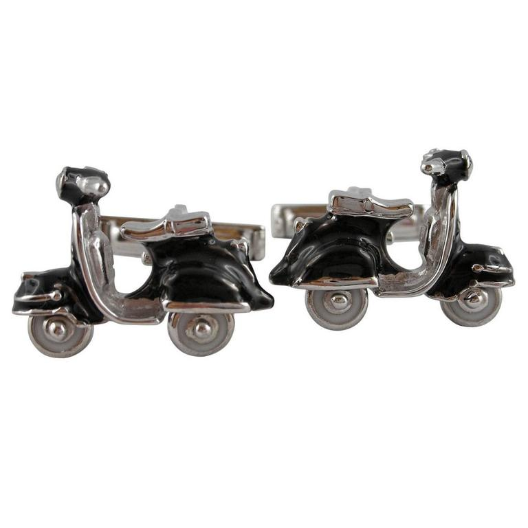 Jona Enamel Silver Scooter Cufflinks For Sale