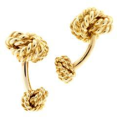 Tiffany & Co. Heavy Double Knot Gold Cufflinks