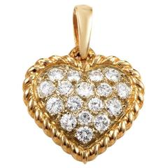 Van Cleef & Arpels Diamond Pave Gold Heart Pendant