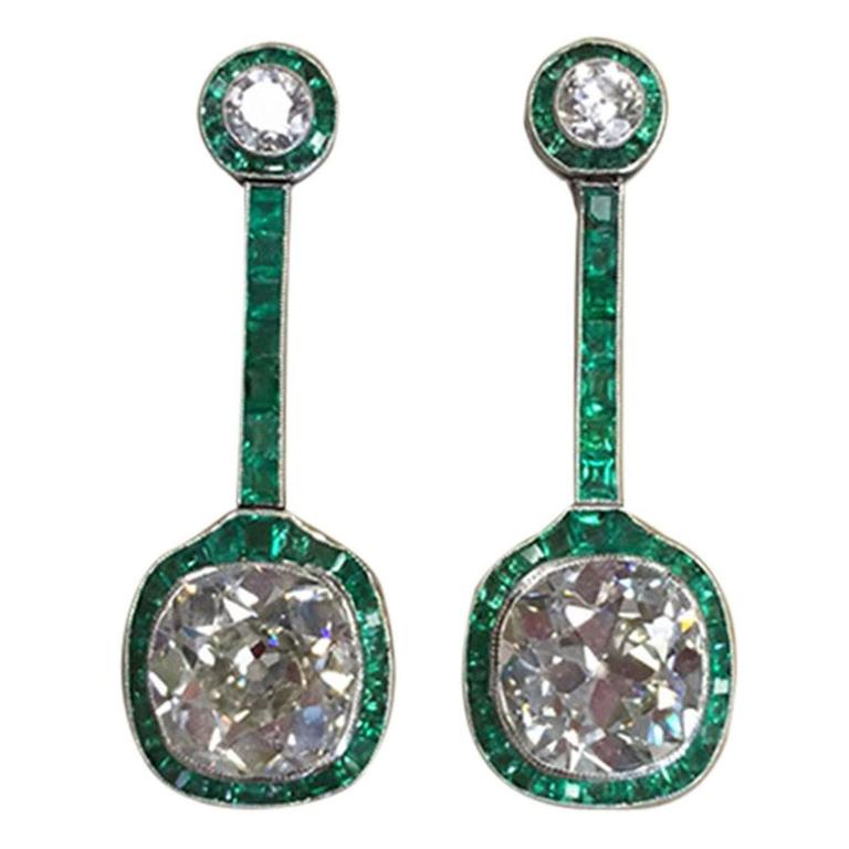 Art Deco Emerald Diamond Platinum Drop Earrings For