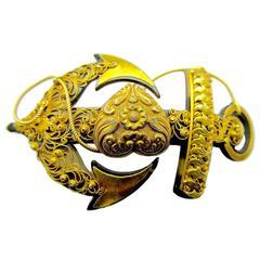 Antique Pique & 18K Gold Anchor Pin