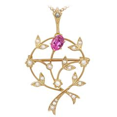 Pink Corundum and Pearl, 9 Karat Yellow Gold Pendant / Brooch, Art Nouveau Style
