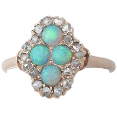 1910s Antique Opal and Diamond Yellow Gold Cocktail Ring