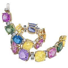 Extraordinary Colored Sapphire Diamond Gold Platinum Bracelet