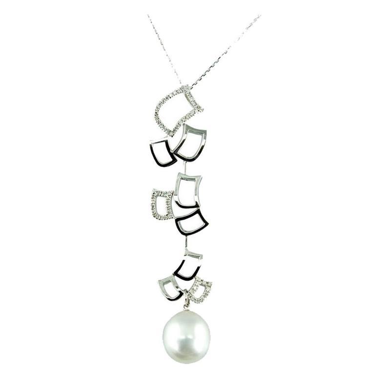 Pearl Diamond Gold Modernist Statement Pendant Necklace