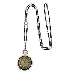 Cartier Platinum Yellow Gold Diamond Black Enamel Pendant-Watch Necklace
