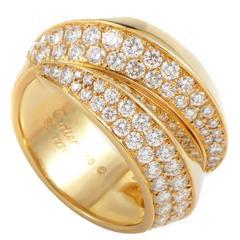 Cartier Split Diamond Gold Band Ring