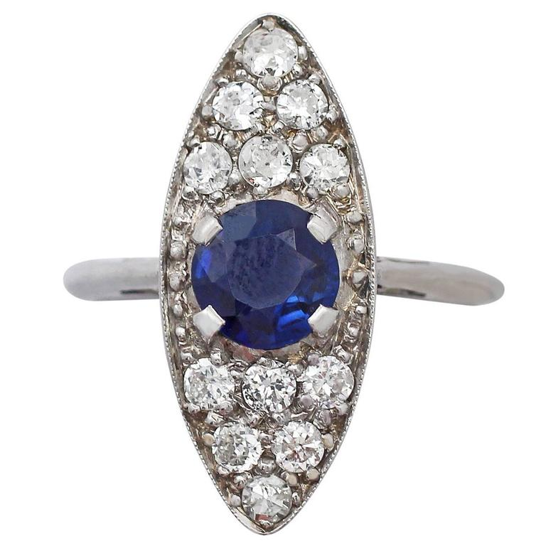 1920s Antique 1.02 Carat Sapphire and Diamond White Gold Cocktail Ring
