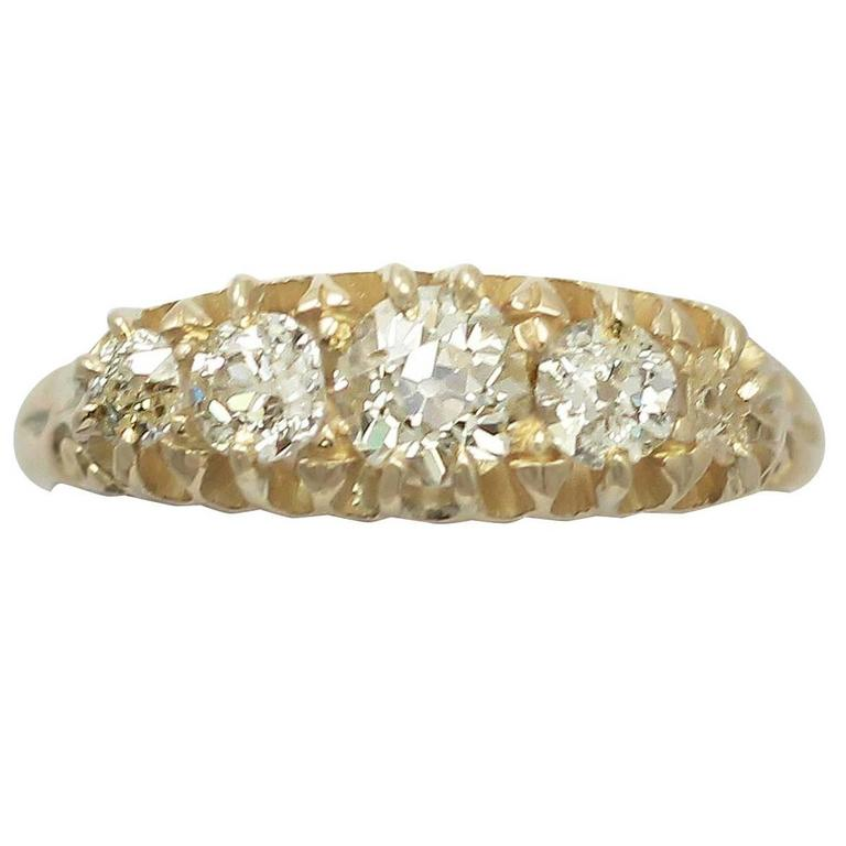 1910s Antique Diamond and Yellow Gold Five Stone Ring