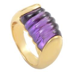 Bulgari Tronchetto Amethyst Gold Band Ring