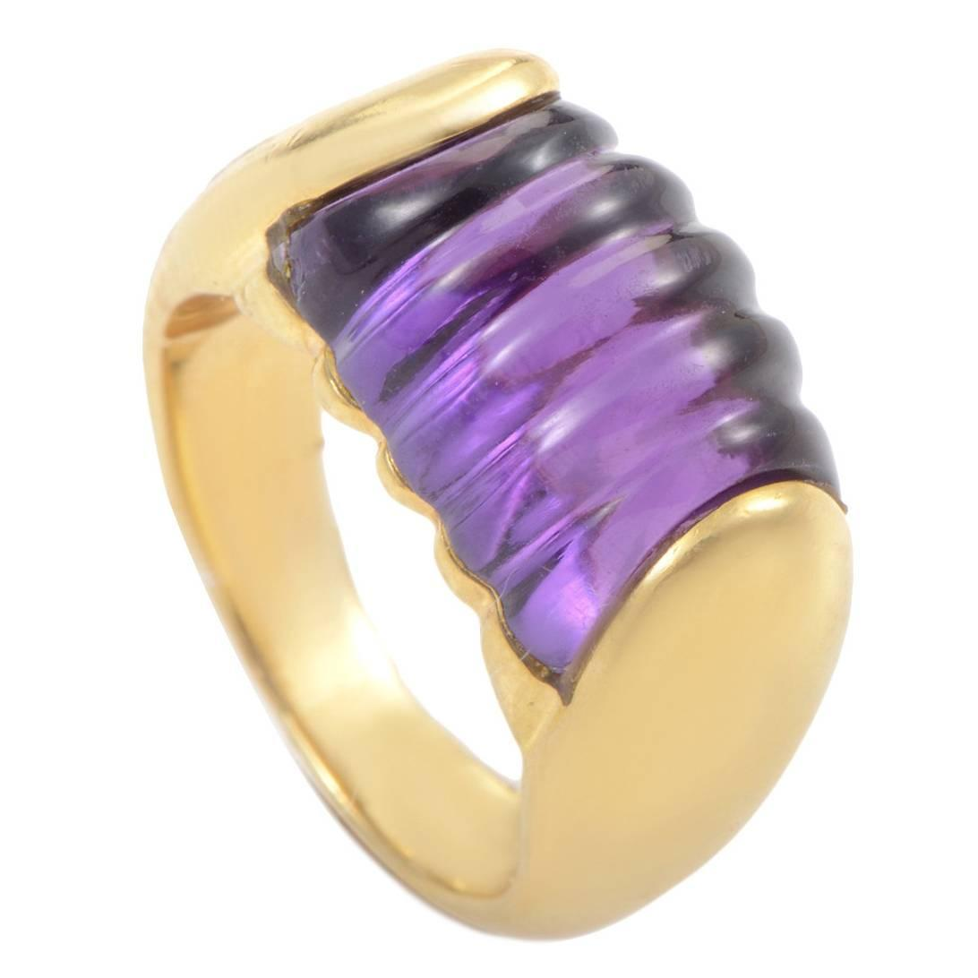 Bulgari Tronchetto Amethyst Gold Band Ring at 1stdibs