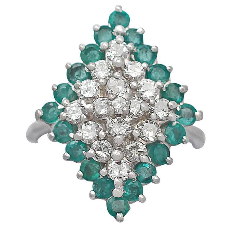 1975 Emerald & 1.36 Carat Diamond White Gold Cocktail Ring 1