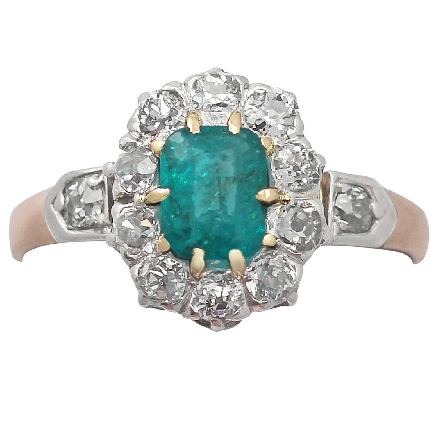 0 0 46ct emerald and 0 28ct 18k gold cluster