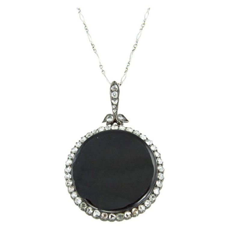 Timeless Edwardian Onyx Rose-Cut Diamond Silver Gold Pendant 1