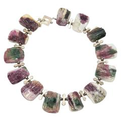 Natural Freeform Tourmaline Druzy Silver Necklace