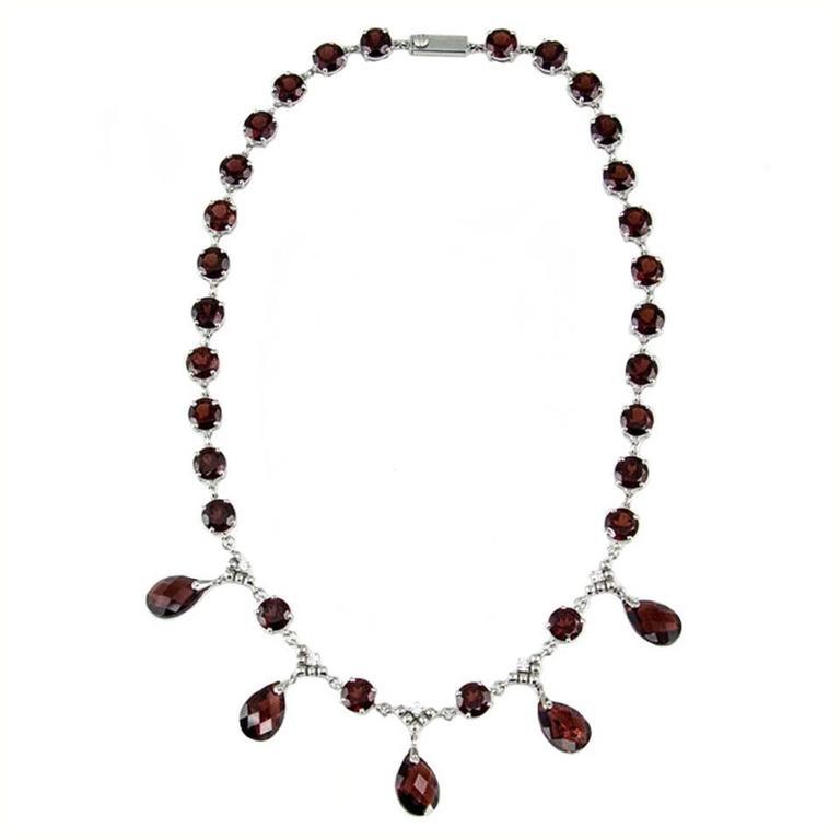 Modernist Garnet Diamond Gold Fringe Necklace 1