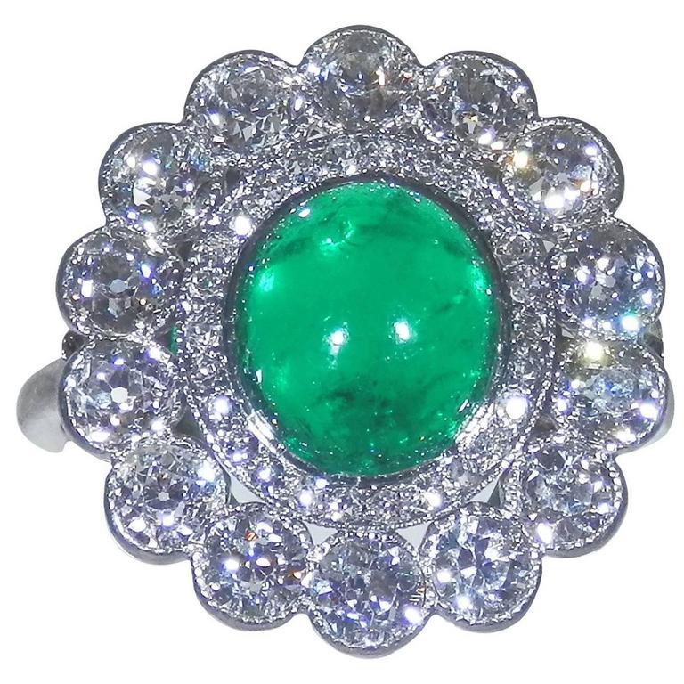 1920s Emerald Diamond Platinum Ring