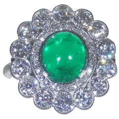 1920s Emerald Diamond Platinum Ring
