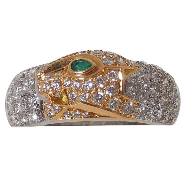 Cartier Emerald Diamond Gold Panther Band Ring